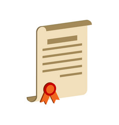 Diploma scroll certificate symbol flat isometric vector