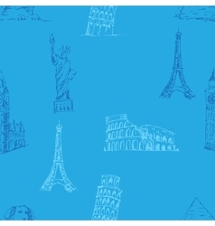 Doodle Travel pattern World famous landmarks vector image