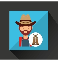 Farmer worker icon vector