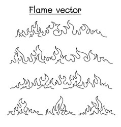 fire flame icon set in thin line style vector image