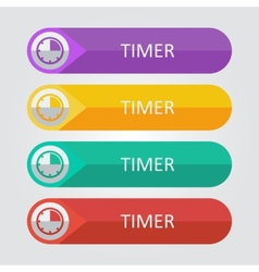 flat buttons timer vector image