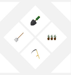 Flat icon dacha set of flowerpot hay fork cutter vector