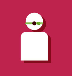 Flat icon design man silhouette with gag vector