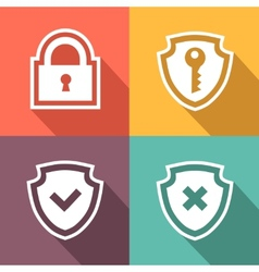 Flat security icons vector image