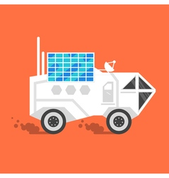 Flat style of space rover with solar panel vector