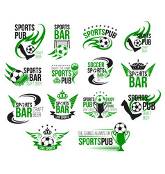Football sport pub icon of soccer ball and trophy vector