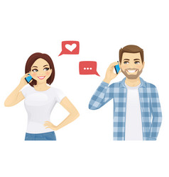 Friends talking on phone vector
