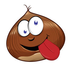 funny chestnut character mascot isolated on white vector image