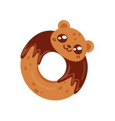 glazed cookie cute kawaii food cartoon character vector image