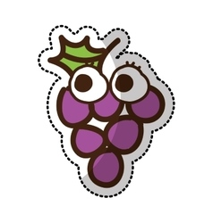 Grapes fruit character comic icon vector
