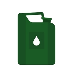 Green jerrycan oil flat icon vector image