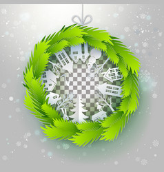 green paper wreath with outdoors vector image