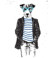 Hand drawn dressed up dog in hipster style vector