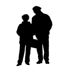 happy elderly seniors couple together silhouette vector image