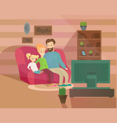 happy family evening vector image