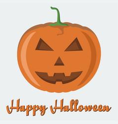 happy halloween poster with evil-smiling pumpkin vector image