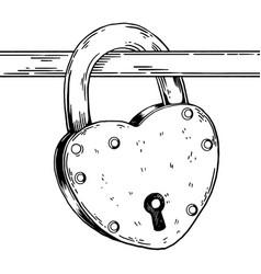 heart shaped lock engraving vector image