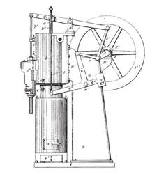 Hot air pumping engine vintage vector