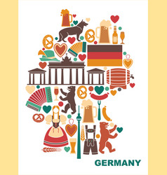 icons of germany in the form of a map vector image