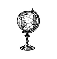 ink sketch globe vector image