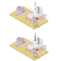 Isometric rocket launch complex vector