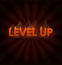 level up game bonus lettering in fire vector image