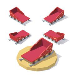 low poly christmas sleigh vector image