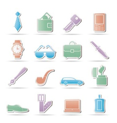 man accessories icons and object vector image