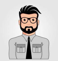 man cartoon portrait with glasses vector image