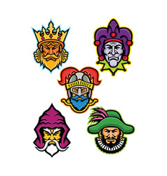 Medieval royal court mascot collection vector