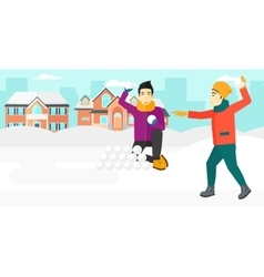 Men playing in snowballs vector