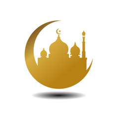 Modern mosque moslem icon gold white background vector