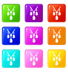 necklace icons set 9 color collection vector image