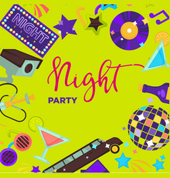 Night party promo poster with shiny disco themed vector
