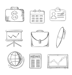 Office and business icons set sketch style vector