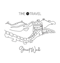 one continuous line drawing great wall of vector image