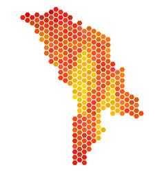 Orange hexagon moldova map vector