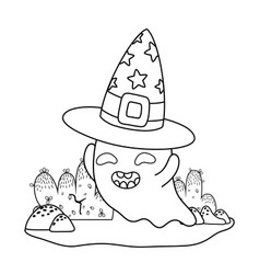 Outline happy ghost character with witch hat vector