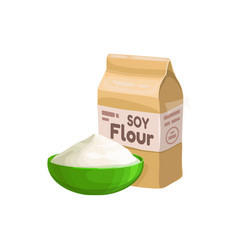 Package and bowl powdered soya flour isolated vector