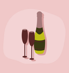Paper sticker on stylish background champagne vector
