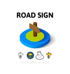 Road sign icon in different style vector