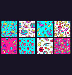 seamless 90s pattern retro 80s pop fashion vector image