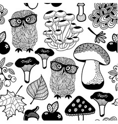 Seamless pattern summer forest with owls and vector