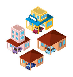 set buildings and cars scenes isometric vector image
