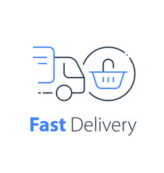 Shopping order delivery truck distribution vector