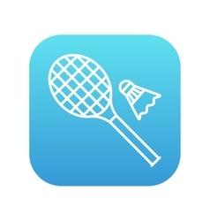 Shuttlecock and badminton racket line icon vector image