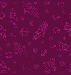 space animals dark pink seamless background vector image
