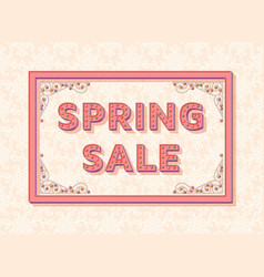 spring sale background template with retro vector image
