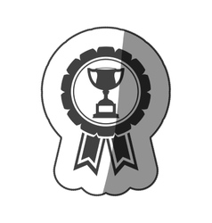 Sticker monochrome medal with trophy cup vector