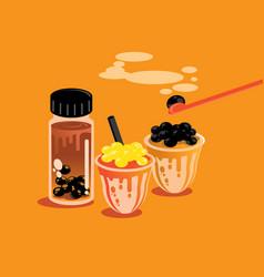 Taiwan style milk tea pearl background vector